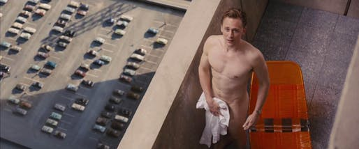 Tom Hiddleston in High Rise, nakedly appreciating brutalism. Photograph: StudioCanal/Planet Photos