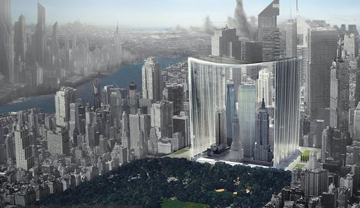 """This recent eVolo Skyscraper competition entry took the mantra """"THINK BIG"""" to the next level: Elegy of Skyscrapers: Museum of Manhattan Skyscrapers by Yike Peng, Fan Wu, Youyi Wang 
