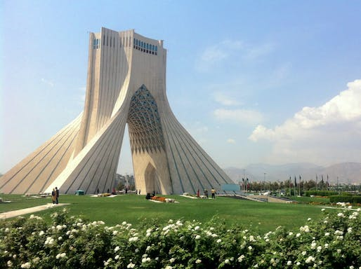 The early 1970s Azadi Tower, formerly known as the Shahyad Tower, is a national landmark in Tehran. Photo: Wikimedia Commons user Hooperag.