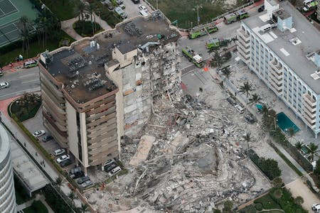 Champlain Towers South, Florida, after its collapse. Image: Brandon Taylor, WLTX /Twitter