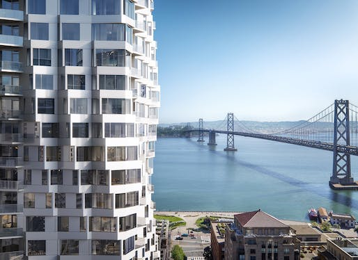 """MIRA"" high rise rendering by Studio Gang, located in San Francisco. Image: Binyan."