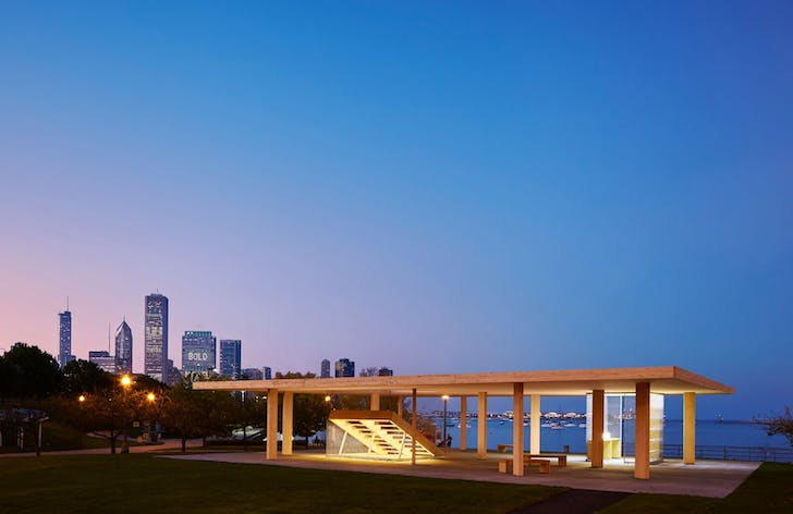 Ultramoderne's 'Chicago Horizon' kiosk, photo by Tom Harris. Image courtesy of the Chicago Architecture Biennial.