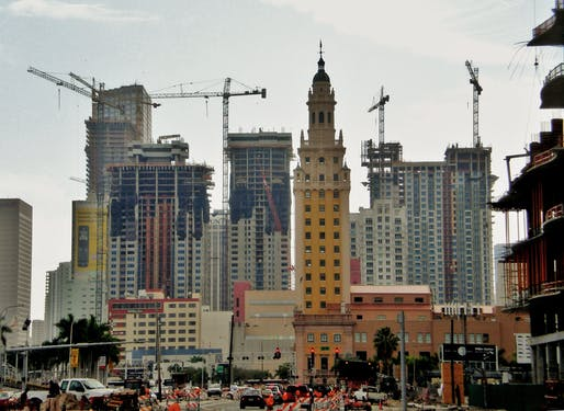 Architecture Billings are up for January. Shown: High-rise construction in Downtown Miami. Image courtesy of Wikimedia user Marc Averette.