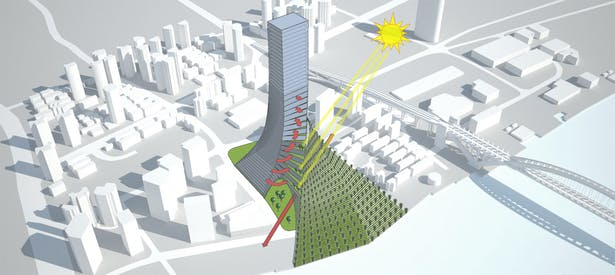 To preserve part of the Nanyuan Park, a gallery cuts the VetiVertical City creating new green spaces. This 'Eiffel effect' allows to maintain the existing roads and let the citizens to enjoy life under the building as an extension of VetiVertical City. 15 sky-gardens are obtained withdrawing the facades to maximize solar radiation