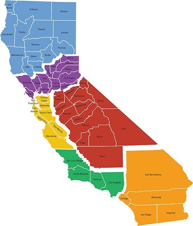 "Map of the six proposed 'California States' according to billionaire Tim Draper's ""Six Californias"" Plan"
