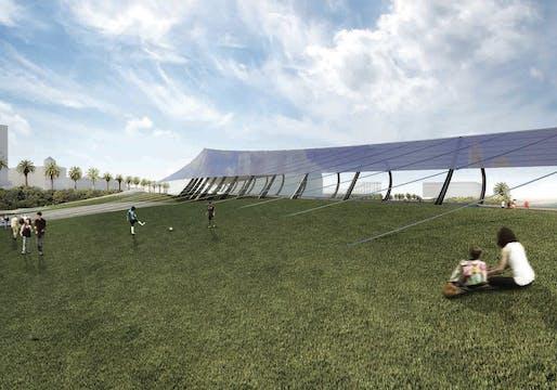 """Night & Day: St Kilda Hydro-Solar Generator"". TEAM: Kevin Kudo-King, Annie Aldrich, James Juricevich, Evan Harlan, Vikram Sami, Erin Hamilton, Gabriela Frank, MacKenzie Cotters, Lauren Gallow, Jonathan Nelson (Olson Kundig). ENERGY TECHNOLOGIES: mono-crystalline silicon photovoltaic, pumped..."