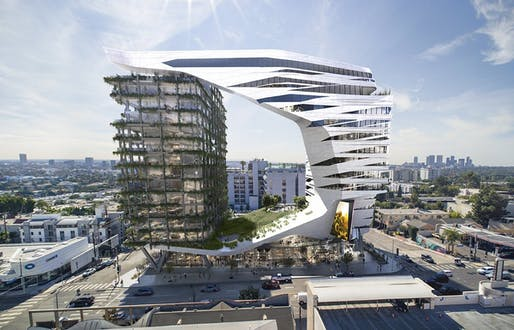 Rendering of the proposed 8850 Sunset Boulevard development. Courtesy of Morphosis