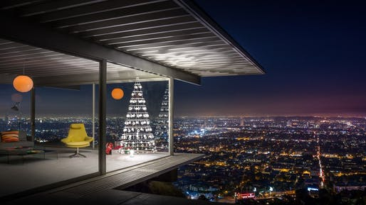 A Modern Christmas Tree shown inside Case Study House #22, the Stahl House, designed by Pierre Koenig in 1959.Photograph by J.C. Buck/Courtesy of Modern Christmas Trees
