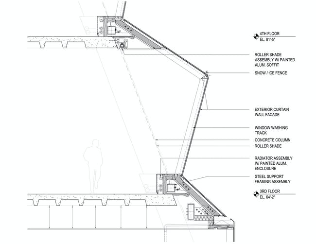 'While the pleating of the façade results in an increase of overall glass surface, the insulation value of the new glazing assembly is significantly higher than that of the original glass, resulting in no net loss of insulation value or energy performance. Meanwhile, the increased area of glazing allows for deeper penetration of daylight into the interior.' Image courtesy of REX.