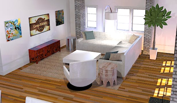 SketchUp w/ Twilight Plug-In Render of Great Room TV Area