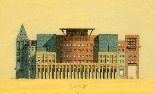Drawing of Denver Central Library, South Facade, 1993, Image courtesy Estate of Michael Graves via the Princeton University Art Museum.