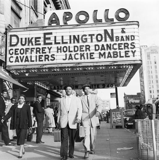 The American Jazz trumpeter Clark Terry walking by the Apollo Theater in Harlem, New York. Image courtesy Ford Foundation, J. Paul Getty Trust, John D. and Catherine T. MacArthur Foundation, Andrew W. Mellon Foundation, and Smithsonian Institution.