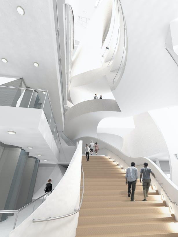 The Public City - arts center interior atrium view