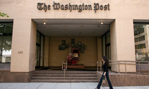 Entrance to the Washington Post's former building. 'This was where, over months and years, two young reporters pieced together the most famous of all 20th-century journalistic investigations.' Photograph: Thomas Imo/Photothek via Getty Images