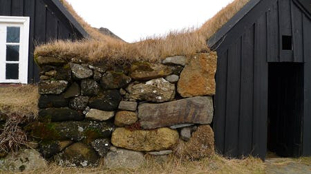 Percolate: old vernacular turf house in Iceland.