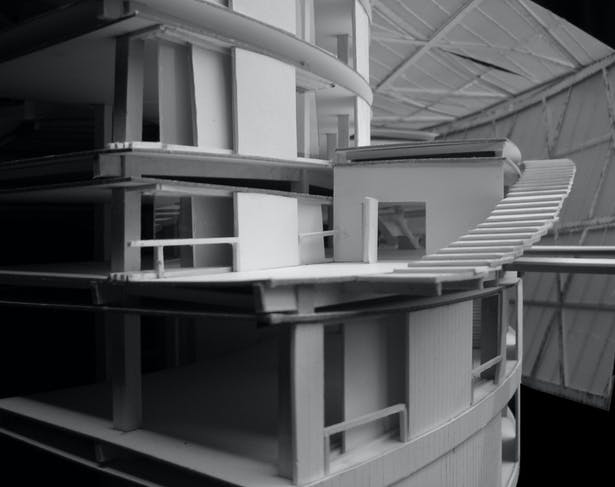 project model showing museum exhibition terrace and interior spaces
