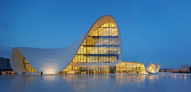 Arcaid Images Architectural Photography Awards 2014 Runner-Up - Exteriors: Heydar Aliyev Center by Zaha Hadid Architects. Photo by Hufton and Crow.