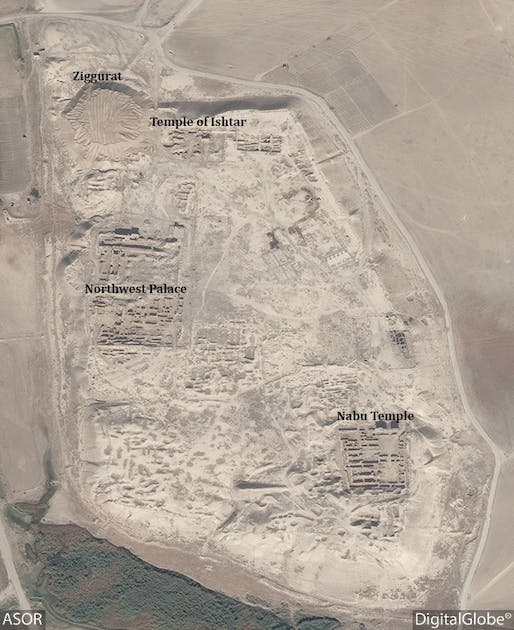 This DigitalGlobe satellite photo from November 4, 2016 shows the extend of destruction with heavy machinery tracks in Nimrud's Temple of Ishtar and the area where the Ziggurat ruin once stood. Image via ASOR Cultural Heritage Initiatives Facebook page.