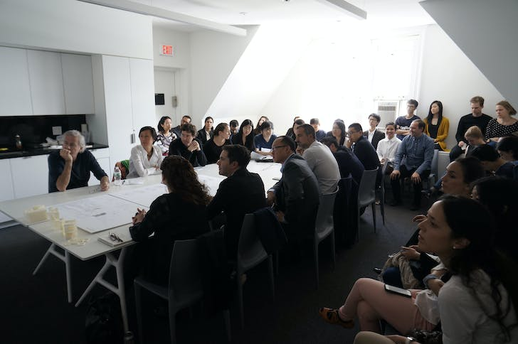 Enrique Walker Spring 2015 studio final review, with jury Bernard Tschumi, Mimi Hoang, Karla Rothstein, Andres Jaque, Phu Hoang, and Iñaki Carnicero. Photo courtesy of Columbia GSAPP.