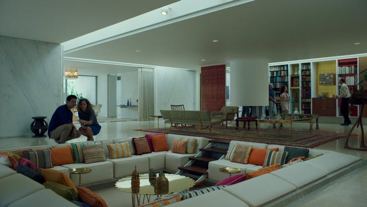 Jin and Casey in Miller house designed by Eero Saarinen. 'Columbus' film still