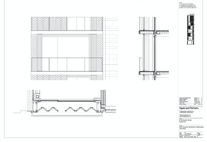 North Elevation Screen Details - 3rd Floor. Image courtesy of Squire and Partners.