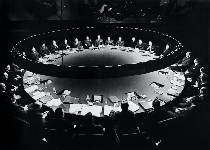 The War Room, designed by Ken Adam, in Stanley Kubrick's 1964 film 'Dr Strangelove'. Courtesy of Dirty Furniture.