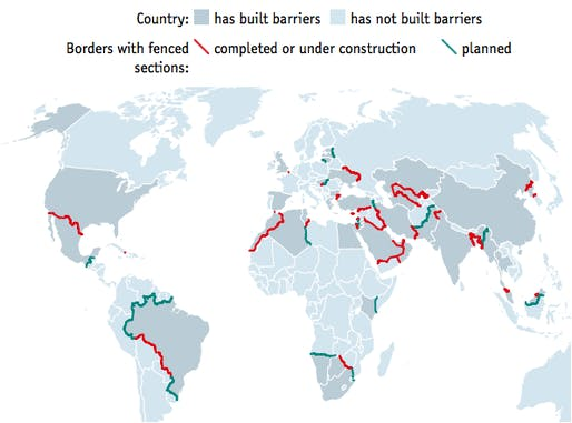 The world is in the midst of a veritable border-barrier-building boom. Credit: the Economist