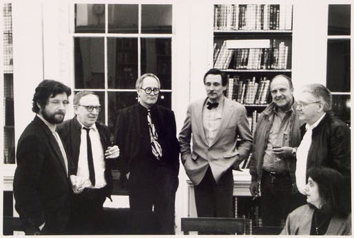 From left to right: David Greene, Warren Chalk, Peter Cook, Michael Webb, Ron Herron, Dennis Crompton.