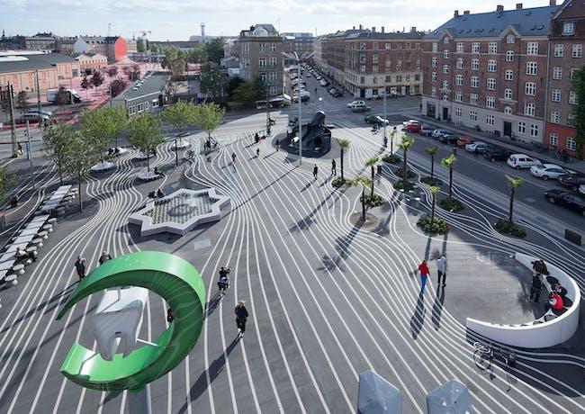 Superkilen, Copenhagen, Denmark by BIG, TOPOTEK1 and Superflex (Photo: Iwan Baan)