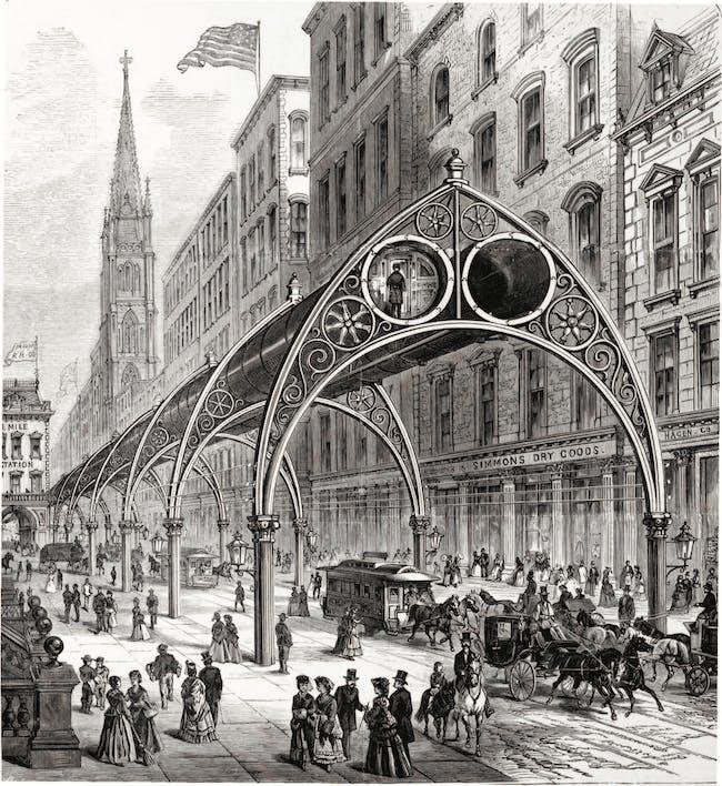 Rufus Gilbert Gilbert's Pneumatic Railway. Courtesy of Distributed Art Publishers, Inc.