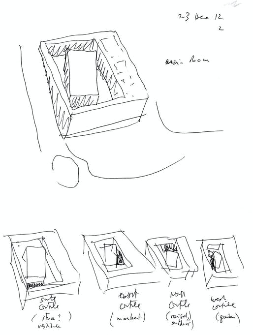 Bernard Tschumi Architects, ANIMA Cultural Center in Grottammare, Italy. General building strategy- the main room and the four courtyards (sketch by Bernard Tschumi)