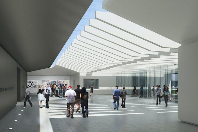 Interior lobby rendering. Courtesy EMK Institute.