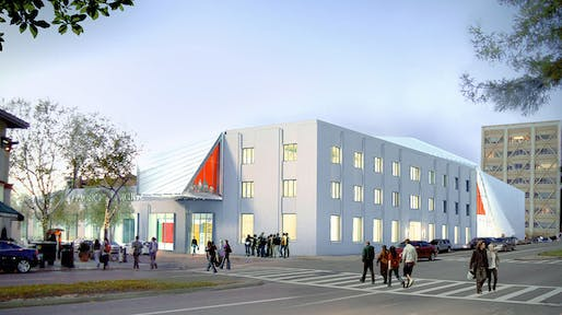 Rendering of the new UC Berkeley Art Museum and Pacific Film Archive (BAM/PFA), designed by Diller Scofidio + Renfro. View from the intersection of Center and Oxford Streets. Courtesy of the Regents of University of California.