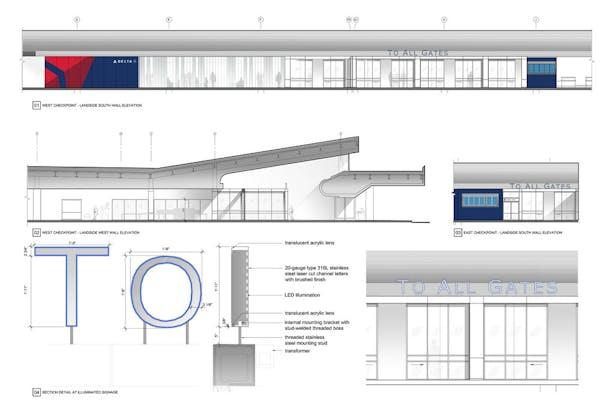 DD Presentation board depicting proposed storefont elevations and dimensional letter signage installation details.