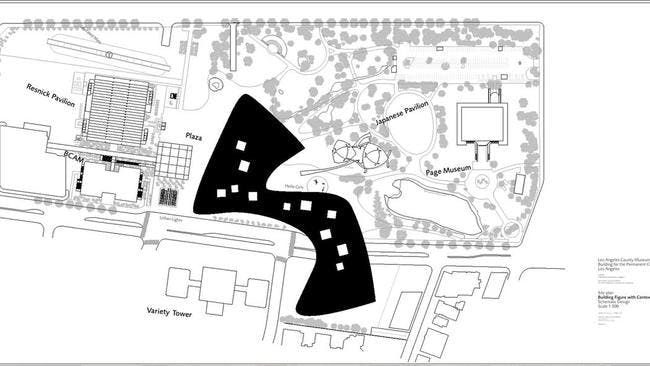 A plan for the Zumthor design for LACMA. Credit- Atelier Peter Zumthor & Partner
