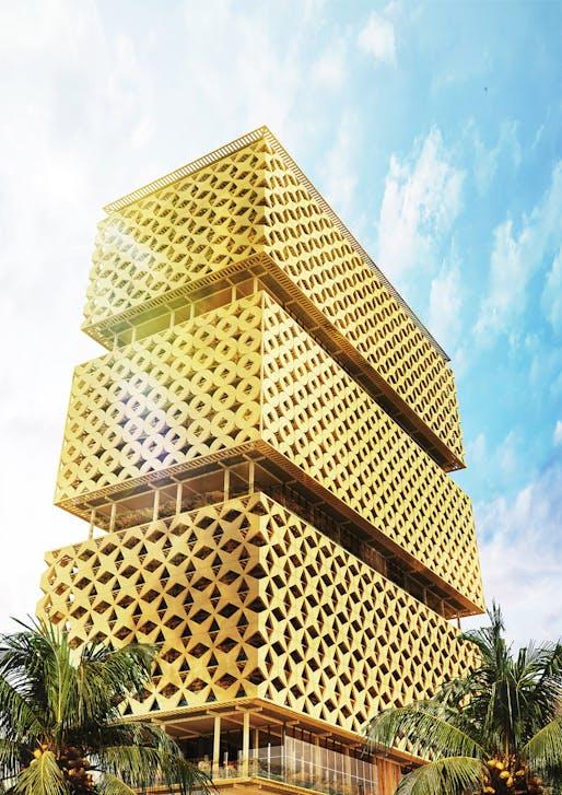 Abebe Court Tower, Lagos by Hermann Kamte & Associates. Image: Hermann Kamte & Associates.
