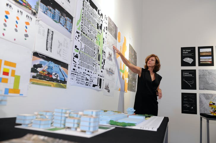 Jeanne Gang of Studio Gang presents at the Foreclosed: Rehousing the American Dream Open Studios at MoMA PS1on June 18, 2011. Photographs by Don Pollard. © 2011 The Museum of Modern Art.