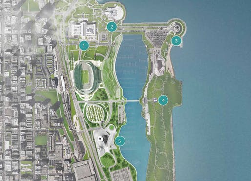 The MAD Architects-designed plans for the lakefront property. 1) Field Museum 2) Shedd Aquarium 3) Adler Planetarium 4) Northerly Island 5) Lucas Museum of Narrative Art. Credit: Lucas Museum of Narrative Art