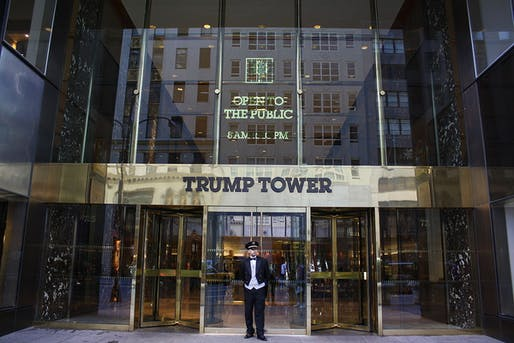 Entrance to Trump Tower with 'Open to the Public' sign.