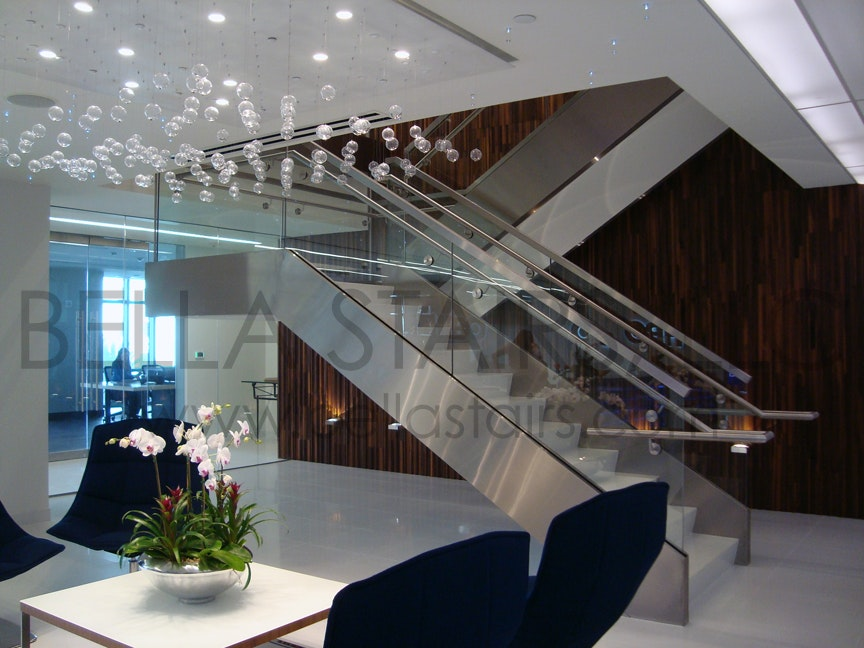 Glass Railings U0026 Brushed Stainless Steel Elements Transform This Commercial  Stair.