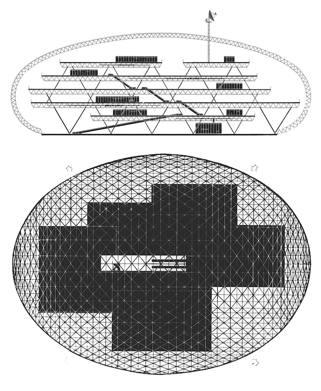 View full image + The section and plan of the Climatroffice project (1971) show how the Foster firm reconceptualized the platforms, escalators, and enclosure of the U.S. Pavilion as elements in a freestanding climate-controlled office building. Courtesy of Foster + Partners.