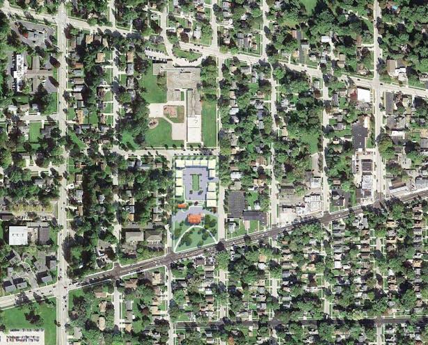 Larkin Place, Elgin, IL: Context Aerial