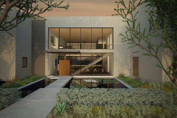 Front elevation. Main entrance through gardens and over a koi pond. Full height glass windows reveal the main living space.