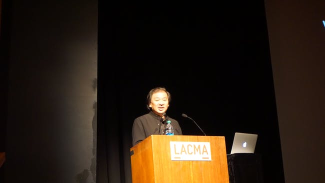 Shigeru Ban delivered a lecture last night at the Los Angeles County Museum of Art entitled 'Works and Humanitarian Activities.' Credit: Nicholas Korody