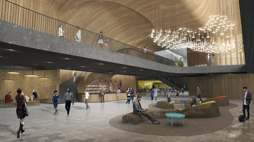 A view inside the proposed renovations for Honolulu's Blaisdell Center. Image © Snøhetta.