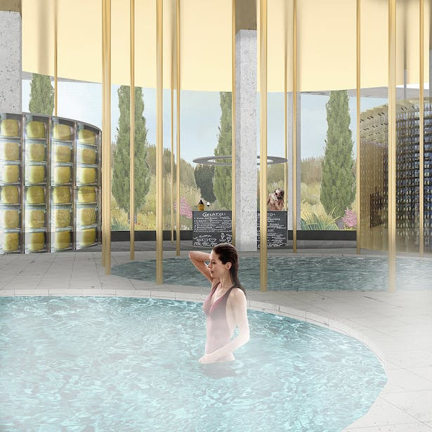 The Cold Pavilion: Comprised of a collection of cold pools at various temperatures and luxurious gold colored reflective metal finishes. Cooled foods, gelato, and drinks are served; wines and cheeses stored at their proper temperatures. The body's temperature is high than its surroundings, and constantly releasing heat at different rates as it encounters various states of coldness.