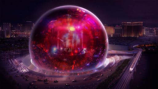 The exterior of the Sphere concert hall in Las Vegas is designed to be one giant state-of-the-art LED screen for images and videos. Image: The Madison Square Garden Company
