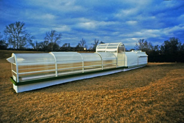 the growth accelerator was made up of four insulated glazed low profile sections, one taller glazed section and one heavily insulated section
