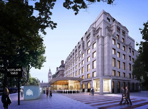 Rendering of the new London Polic HQ by Allford Hall Monaghan Morris (AHMM). Image via met.police.uk