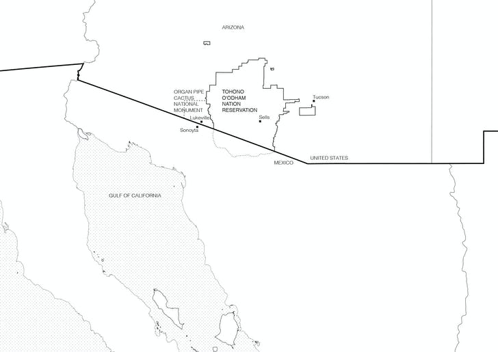 Extent of Tohono O'odham original territory. Boundaries of the current Tohono O'odham Reservation, Organ Pipe Cactus National Monument, and O'odham lands in Mexico. Drawings by Nina Kolowratnik.